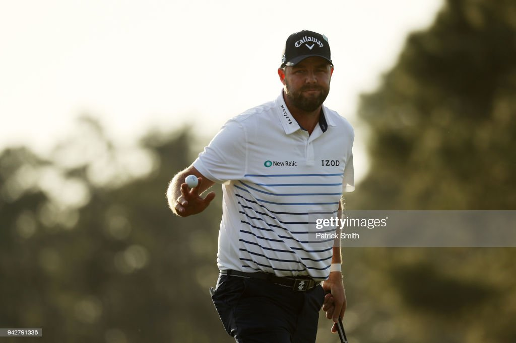 Marc Leishman of Australia waves on the 17th green during the second round of the 2018 Masters Tournament at Augusta National Golf Club on April 6, 2018 in Augusta, Georgia.