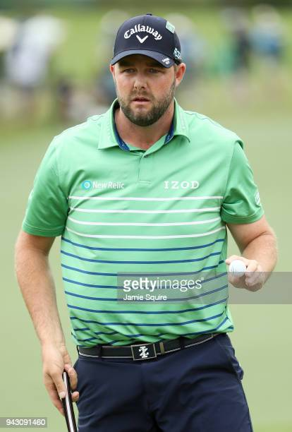 Marc Leishman of Australia waves on the second green during the third round of the 2018 Masters Tournament at Augusta National Golf Club on April 7...
