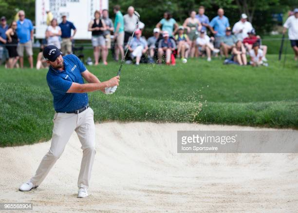 Marc Leishman plays out of the bunker during the second round of the Memorial Tournament at Muirfield Village Golf Club in Dublin Ohio on June 01 2018