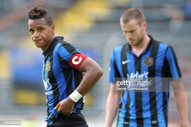 Marc Lerandy of Saarbruecken looks dejected during the 3 Liga match between 1 FC Saarbruecken and VfL Osnabrueck at Ludwigspark Stadion on July 28...