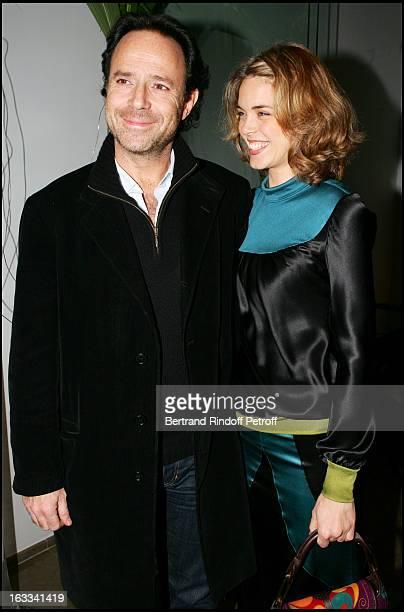 Marc Levy and cousin Julie Andrieu at The Second Series Of Des Trois Coups De L' Angelus At Restaurant Apicius