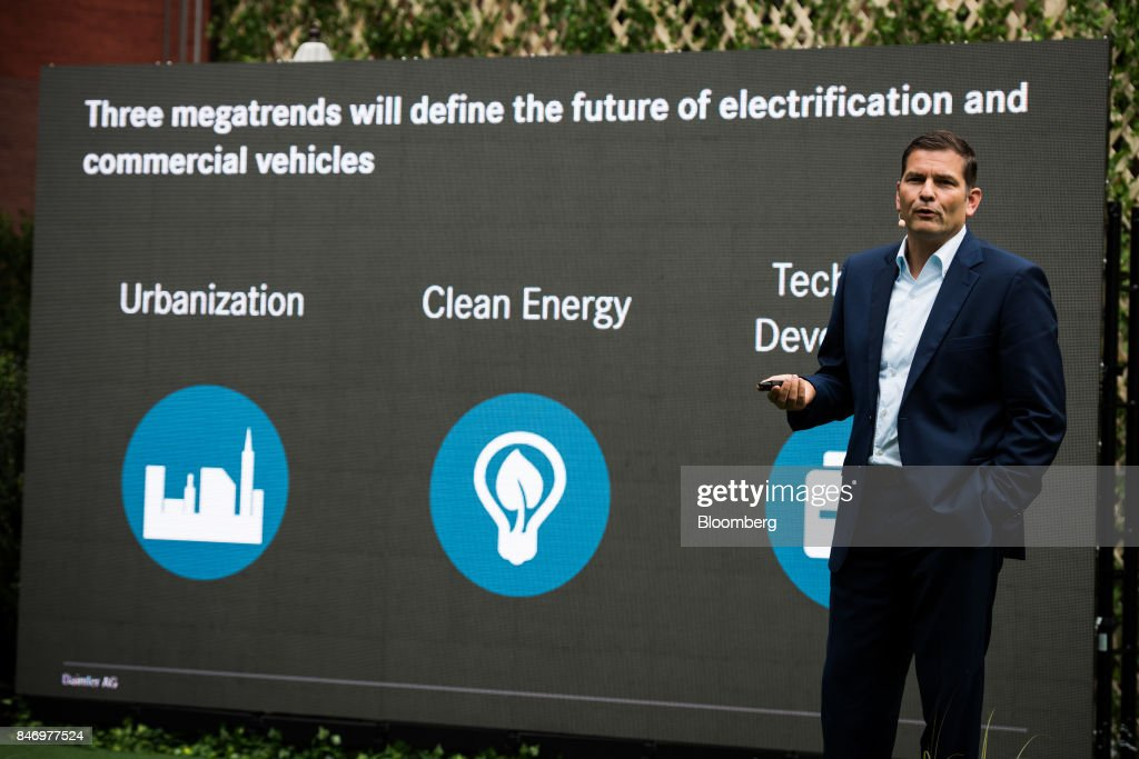 Marc Llistosella, chief executive officer of Mitsubishi Fuso Truck and Bus Corp., speaks during the eCanter truck launch event in New York, U.S., on Thursday, Sept. 14, 2017. The Daimler AG unit unveiled the new Fuso eCanter, an electric light-duty truck produced under its Mitsubishi Fuso brand. The latest version has a range of 60 to 80 miles (97 to 129 kilometers) between charges, depending on body, load and usage. Photographer: Mark Kauzlarich/Bloomberg via Getty Images