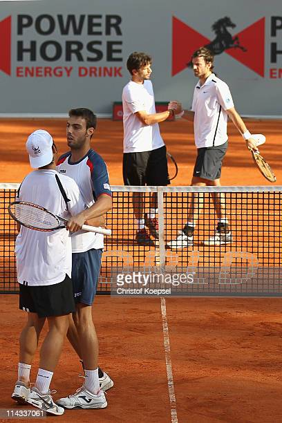 Marc Lopez of Spain and Marcel Granollers of Spain celebrate the victory after the match against Philipp Petzschner and Christopher Kas of Germany in...