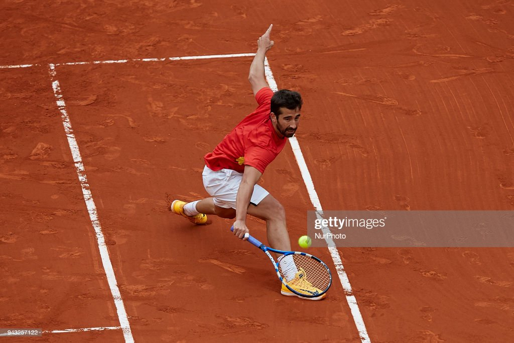 Marc Lopez of Spain in action in his doubles match with Feliciano Lopez of Spain against Tim Putz and Jan-Lennard Struff of Germany during day two of the Davis Cup World Group Quarter Finals match between Spain and Germany at Plaza de Toros de Valencia on April 7, 2018 in Valencia, Spain
