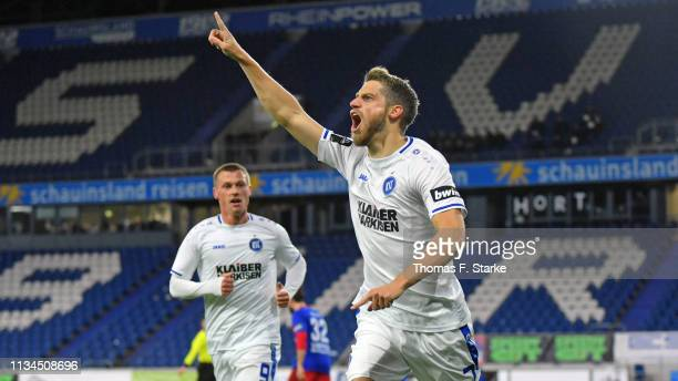 Marc Lorenz of Karlsruhe celebrates scoring his teams first goal during the 3 Liga match between KFC Uerdingen 05 and Karlsruher SC at...