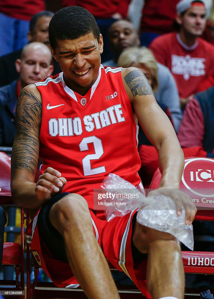 Marc Loving #2 of the Ohio State Buckeyes ices down his knee during the game against the Indiana Hoosiers at Assembly Hall on January 10, 2015 in Bloomington, Indiana. Indiana defeated Ohio State 69-66.