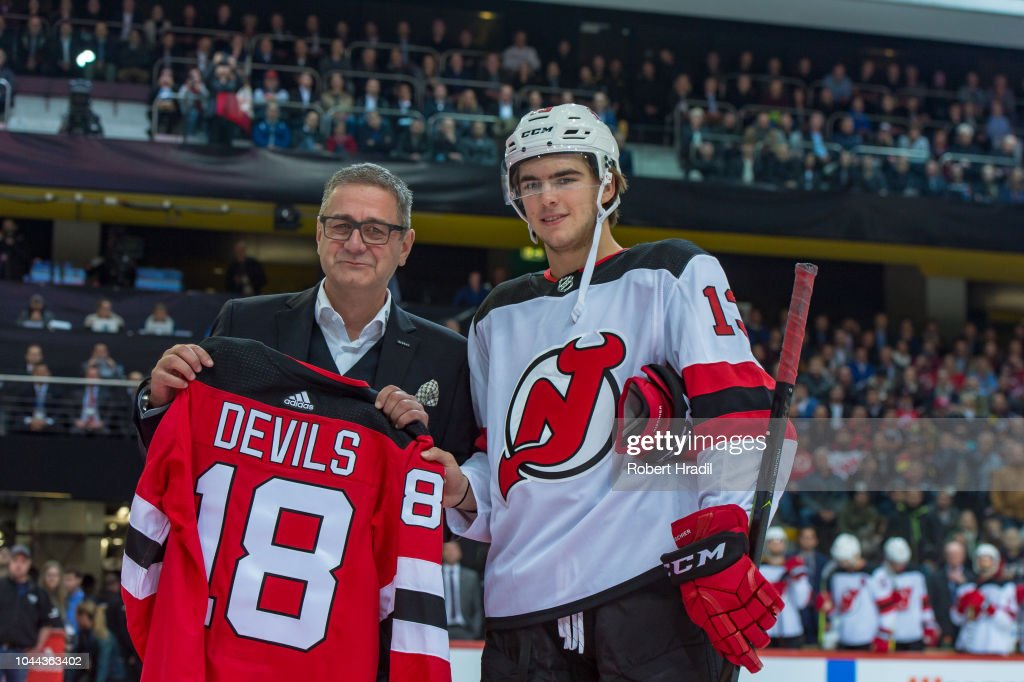 save off 269d5 b3bc2 Marc Luthi, SC Bern CEO receives a New Jersey Devils jersey ...