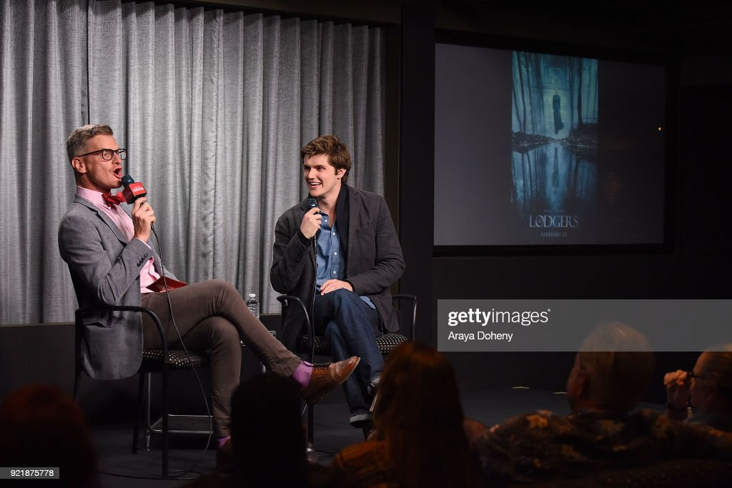 Marc Malkin and Eugene Simon attend the SAG-AFTRA Foundation Conversations - screening of 'The Lodgers' at SAG-AFTRA Foundation Screening Room on February 20, 2018 in Los Angeles, California.
