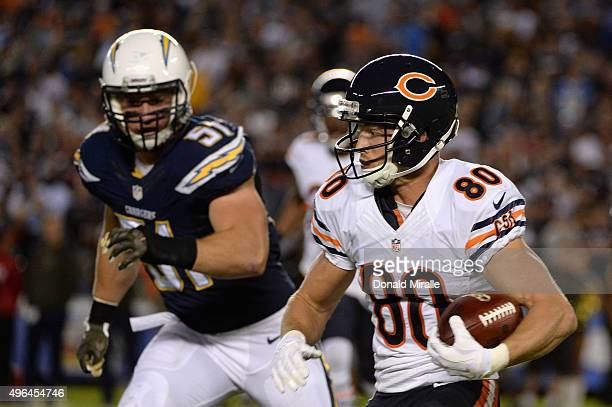 Marc Mariani of the Chicago Bears is pursued by Kyle Emanuel of the San Diego Chargers at Qualcomm Stadium on November 9 2015 in San Diego California