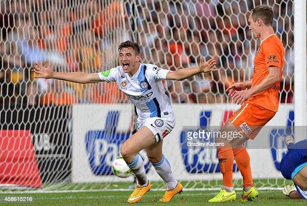 Marc Marino of Melbourne City celebrates scoring a goal during the round five ALeague match between the Brisbane Roar and Melbourne City at Suncorp...
