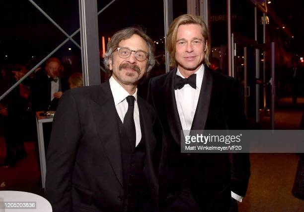 Marc Maron and Brad Pitt attend the 2020 Vanity Fair Oscar Party hosted by Radhika Jones at Wallis Annenberg Center for the Performing Arts on...