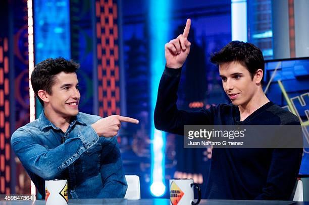 Marc Marquez and Alex Marquez attend The Hormiguero Tv show at Vertice Estudio on December 2 2014 in Madrid Spain