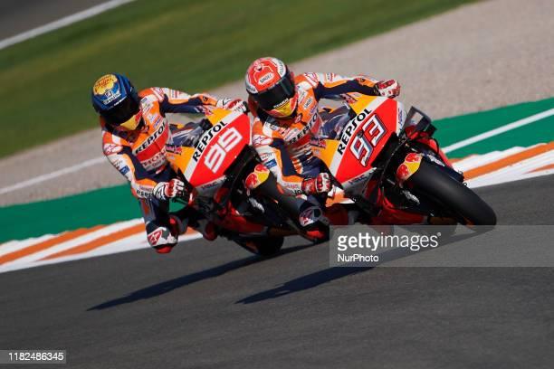 Marc Marquez and Jorge Lorenzo of Spain and Repsol Honda Team during the free practice of Gran Premio Motul de la Comunitat Valenciana at Ricardo...