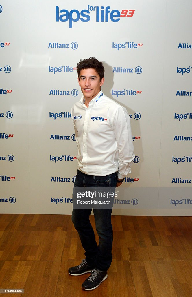 Marc Marquez attends a photocall for Allianz Seguros at Torre Allianz on April 22, 2015 in Barcelona, Spain.