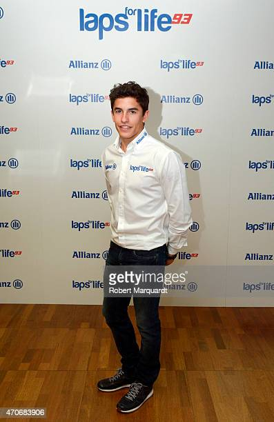 Marc Marquez attends a photocall for Allianz Seguros at Torre Allianz on April 22 2015 in Barcelona Spain
