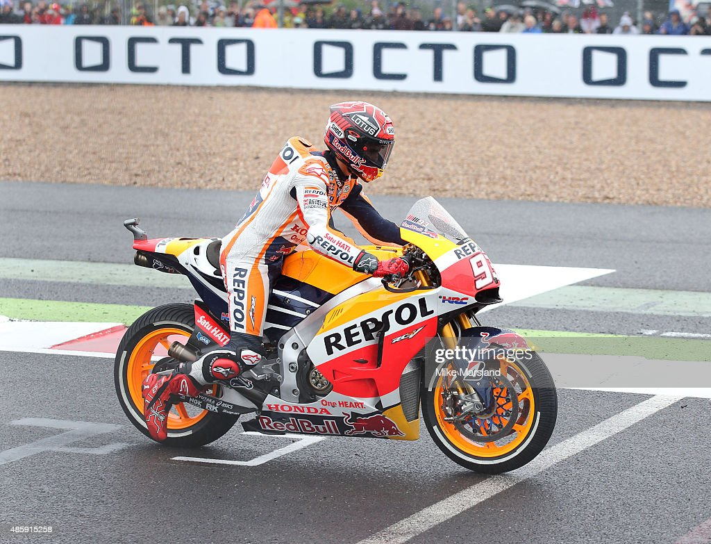 Marc Marquez attends the MotoGP British Grand Prix race at Silverstone ahead of the release of documentary Hitting The Apex. Pitt is presenting the film, which is out in cinemas 2nd September and on DVD 7th September at Silverstone Circuit on August 30, 2015 in Northampton, England