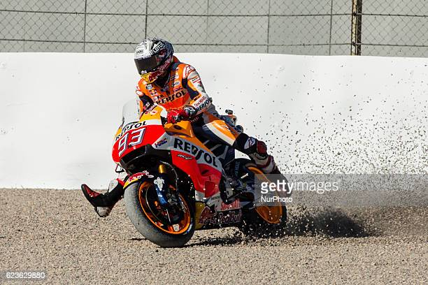Marc Marquez from Spain of Repsol Honda Team crash during the colective tests of Moto GP at Circuito de Valencia Ricardo Tormo on November 16th 2016...