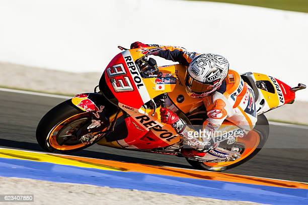 Marc Marquez from Spain of Repsol Honda Team during the colective tests of Moto GP at Circuito de Valencia Ricardo Tormo on November 15th 2016 in...