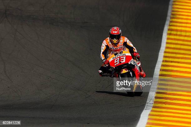 Marc Marquez from Spain of Repsol Honda Team during the qualifying of Moto GP Gran Premio Motul de la Comunitat Valenciana at Circuito Ricardo Tormo...