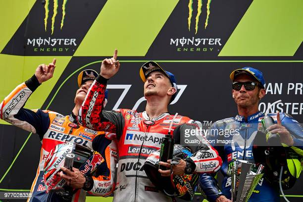 Marc Marquez Jorge Lorenzo and Valentino Rossi dedicate the race to Andreas Perez during MotoGP race of Catalunya at Circuit de Catalunya on June 17...