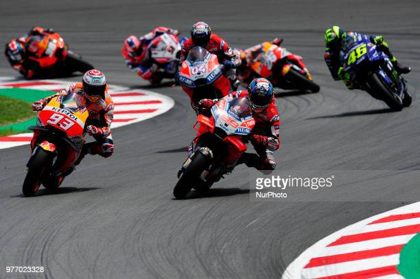 Marc Marquez Jorge Lorenzo Andrea Iannone Valentino Rossi after the race start during the Catalunya Motorcycle Grand Prix at Circuit de Catalunya on...