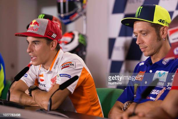 Marc Marquez of Repsol Honda Team and Valentino Rossi of Movistar Yamaha MotoGP during the presentation press conference of the OCTO Grand Prix of...
