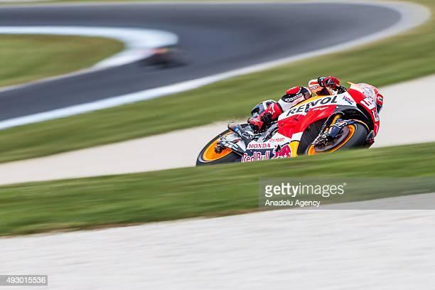Marc Marquez of Repsol Honda Team during MotoGP free practice of the 2015 MotoGP of Australia at Phillip Island Grand Prix Circuit on October 16 2015...