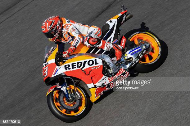 Marc Marquez of Repsol Honda Team in action during saturday's free practice session of the Malaysian Motorcycle Grand Prix on October 28 at Sepang...