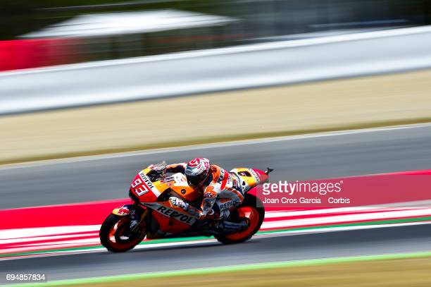 Marc Marquez of Repsol Honda Team riding his bike during the Qualifying Moto GP of Catalunya at Circuit de Catalunya on June 10 2017 in Montmelo Spain