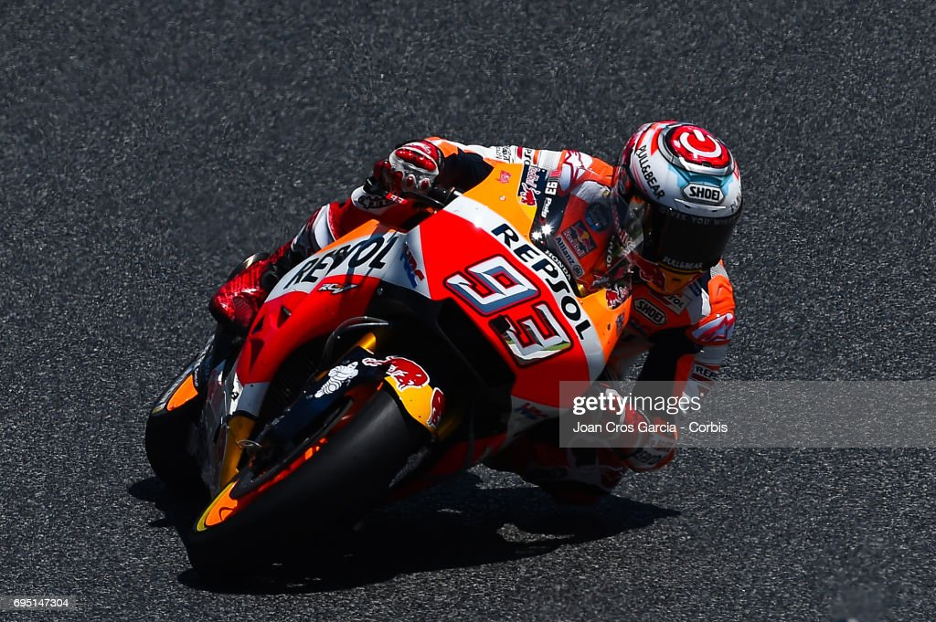 Marc Marquez of Repsol Honda Team, riding his bike, during the Moto GP race, Moto GP of Catalunya at Circuit de Catalunya on June 11, 2017 in Montmelo, Spain.