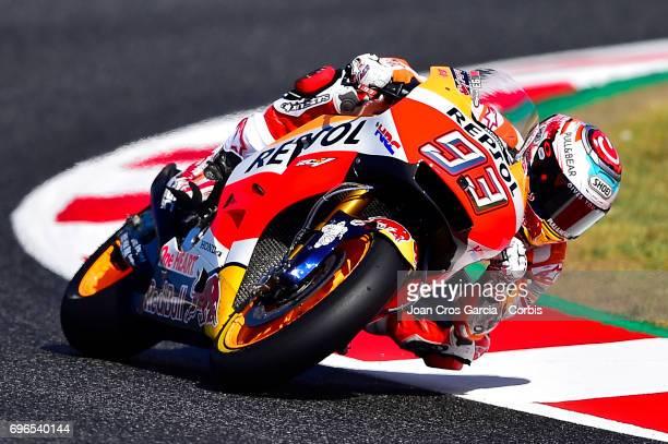 Marc Marquez of Repsol Honda Team, riding through a curve during the Free Practice 3, Moto GP of Catalunya at Circuit de Catalunya on June 10, 2017...