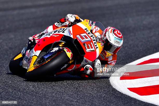 Marc Marquez of Repsol Honda Team steering his bike during the Free Practice 3 Moto GP of Catalunya at Circuit de Catalunya on June 10 2017 in...