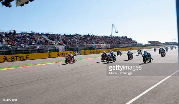 Marc Marquez of Spain and Red Bull AJo Motorsport start from the grid of the 125 race of MotoGP of Aragon at Motorland Aragon Circuit on September 19...