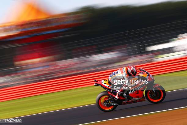 Marc Marquez of Spain and Repsol Honda rides during warm-up ahead of the MotoGP of Great Britain at Silverstone Circuit on August 25, 2019 in...