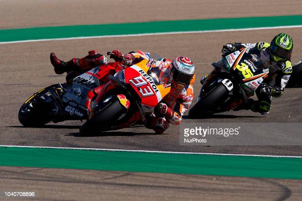 Marc Marquez of Spain and Repsol Honda Team and Jorge Lorenzo of Spain and Ducati Team during race day of the Gran Premio Movistar de Aragon of world...