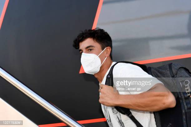 Marc Marquez of Spain and Repsol Honda Team arrives in his motorhome in paddock after surgery on Tuesday in Barcelona during the MotoGP of Andalucia...