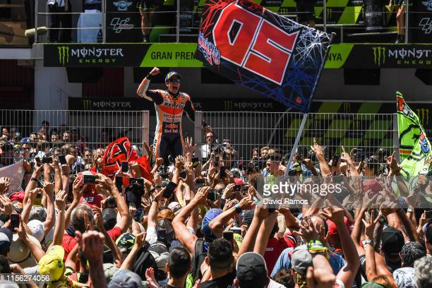 Marc Marquez of Spain and Repsol Honda Team celebrates after winning the MotoGP race during the MotoGP Gran Premi Monster Energy de Catalunya at...