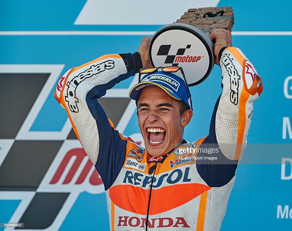 Marc Marquez of Spain and Repsol Honda Team celebrates after winning the MotoGP of Aragon at Motorland Aragon Circuit on September 24, 2017 in Alcaniz, Spain.