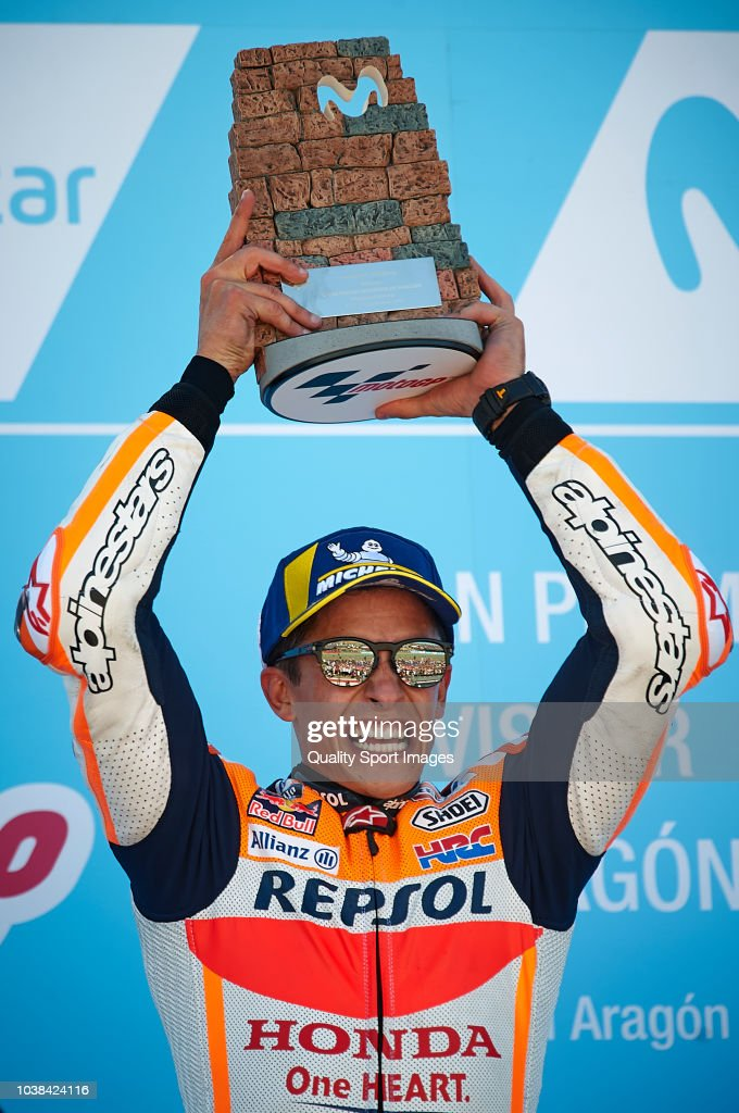 Marc Marquez of Spain and Repsol Honda Team celebrates at the podium after the MotoGP race of the MotoGP Grand Prix of Aragon at Motorland Aragon Circuit on September 23, 2018 in Alcaniz, Spain.