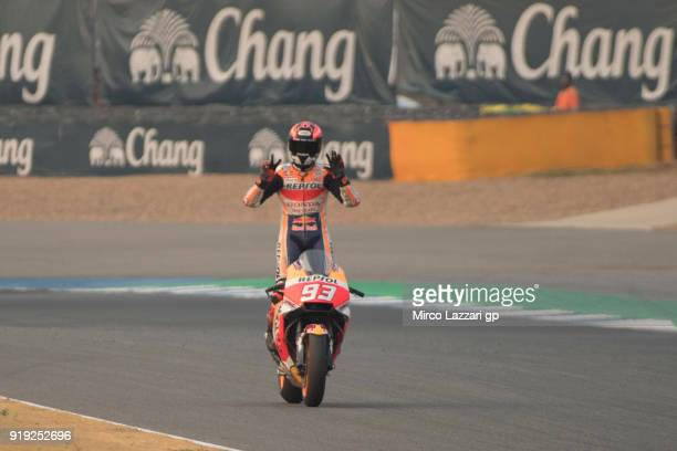 Marc Marquez of Spain and Repsol Honda Team celebrates his 25th birthday on the bike during the MotoGP Tests In Thailand on February 17 2018 in Buri...