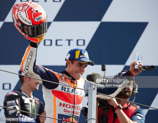 Marc Marquez of Spain and Repsol Honda Team celebrates on the podium after MotoGP race of San Marino at Misano World Circuit on September 15, 2019 in...