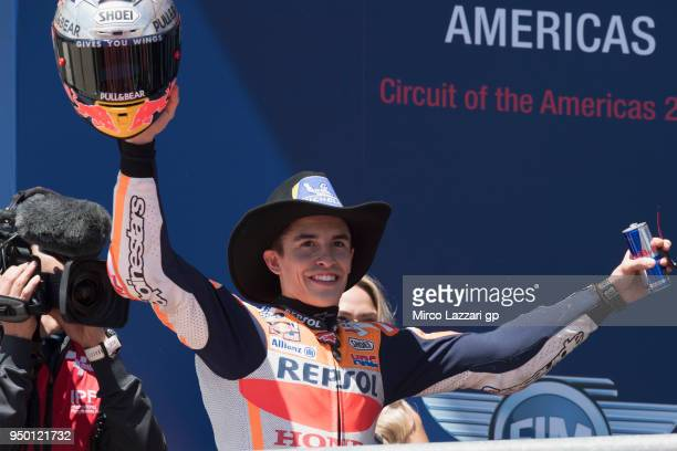 Marc Marquez of Spain and Repsol Honda Team celebrates the MotoGP victory on the podium at the end of the MotoGP race during the MotoGp Red Bull US...