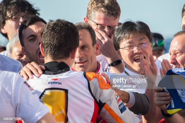 Marc Marquez of Spain and Repsol Honda Team celebrates the MotoGP victory and becoming the 2018 MotoGP champion at the end of the MotoGP race under...