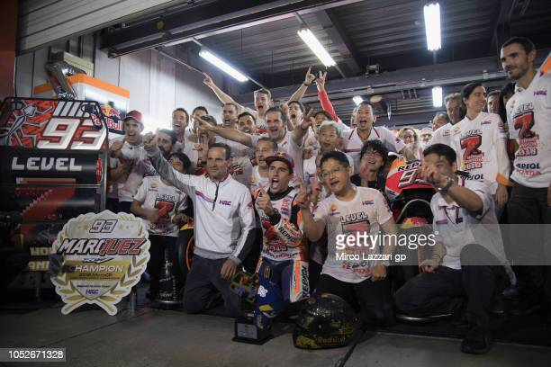 Marc Marquez of Spain and Repsol Honda Team celebrates the MotoGP victory and becoming the 2018 MotoGP champion at the end of the MotoGP race with...