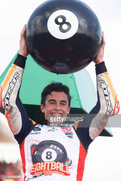Marc Marquez of Spain and Repsol Honda Team celebrates the MotoGP victory and the 2019 MotoGP Championship at the end of the MotoGP race during the...