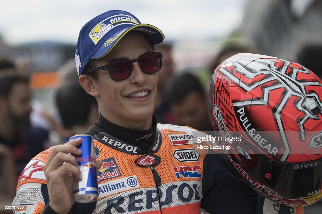 Marc Marquez of Spain and Repsol Honda Team celebrates the pole podition at the end of the qualifying practice during the MotoGp of Austria - Qualifying at Red Bull Ring on August 12, 2017 in Spielberg, Austria.