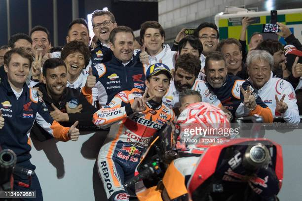 Marc Marquez of Spain and Repsol Honda Team celebrates the second place with team at the end of the MotoGP race during the MotoGP of Qatar - Race at...