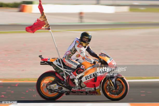 Marc Marquez of Spain and Repsol Honda Team celebrates the third place at the end of the MotoGp race and the victory of the MotoGP championship 2017...