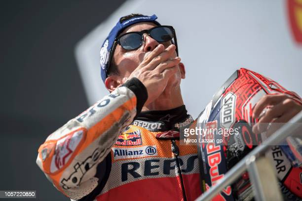 Marc Marquez of Spain and Repsol Honda Team celebrates the victory on the podium at the end of the MotoGP race during the MotoGP Of Malaysia - Race...