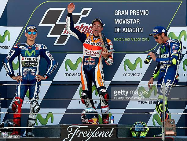 Marc Marquez of Spain and Repsol Honda Team celebrates the victory on the podium at the end of the MotoGP race during the MotoGP of Spain Race at...